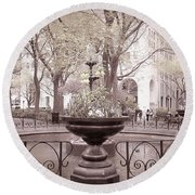Old Time Fountain Round Beach Towel