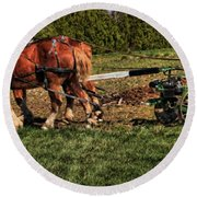 Old Time Horse Plowing Round Beach Towel