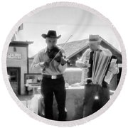 Old Time Musicians Bw Round Beach Towel