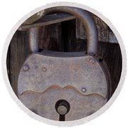 Old Time Padlock Round Beach Towel