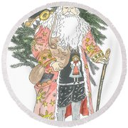 Old Time Santa With Teddy Round Beach Towel