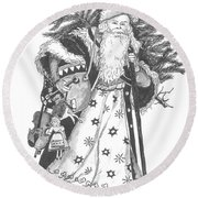 Old Time Santa With Violin Round Beach Towel