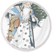 Old Time Santa With Violin2 Round Beach Towel
