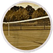 Old Time Tennis Round Beach Towel