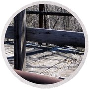 Old Timey Foot Bridge Round Beach Towel