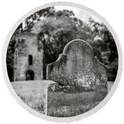 Old Tombstone  Round Beach Towel