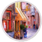 Old Town Bruges Belgium Round Beach Towel