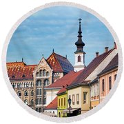Old Town Buildings In Budapest Round Beach Towel