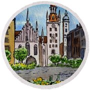 Old Town Hall Munich Germany Round Beach Towel