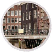 Old Town In Amsterdam Round Beach Towel