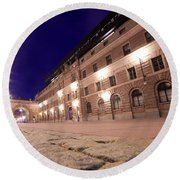 Old Town In Stockholm At Night Round Beach Towel
