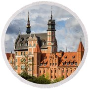Old Town Of Gdansk In Poland Round Beach Towel