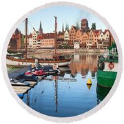 Old Town Of Gdansk Skyline And Marina Round Beach Towel