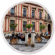 Old Town Of Seville In Spain Round Beach Towel