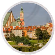 Old Town Of Warsaw Skyline Round Beach Towel
