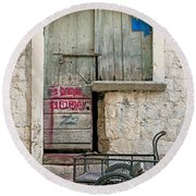 old town street in Kotor Montenegro Round Beach Towel