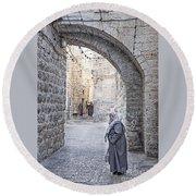 Old Town Street Of Jerusalem Israel Round Beach Towel