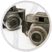 Old Toy Cameras Round Beach Towel