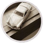 Old Toy Car On The Window Sill Round Beach Towel