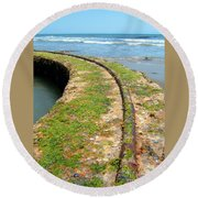 Old Tracks By The Ocean Round Beach Towel