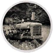Old Tractor Black And White Square Round Beach Towel