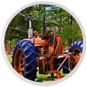 Old Tractor Digital Paint Round Beach Towel