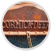 Old Tractor Grille Round Beach Towel