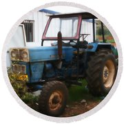 Old Tractor I Round Beach Towel