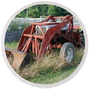 Old Tractor Round Beach Towel by Jennifer Ancker