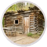 Old Traditional Log Cabin Rotting In Yukon Taiga Round Beach Towel