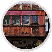 Old Train Car Round Beach Towel