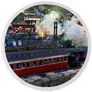 Old Train In The Village - Paranapiacaba Round Beach Towel