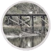 Old Train Trestle Round Beach Towel