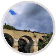 Old Train Viaduct In Poland Round Beach Towel