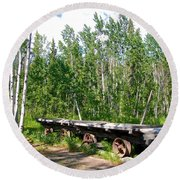 Old Tramway In Canyon City  Miles Canyon Trail Near Whitehorse-yk Round Beach Towel