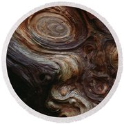 Old Tree Trunk With Knots And Patterns  Round Beach Towel