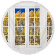 Old Triple16 Pane White Window Colorful Autumn Aspen Forest View Round Beach Towel