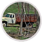Old Truck At Rest Round Beach Towel