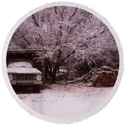 Old Truck In The Snow Round Beach Towel