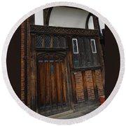 Old Tudor Doorway Round Beach Towel