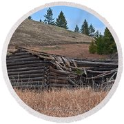 Old Turn Of The Century Log Cabin Homestead Art Prints Round Beach Towel