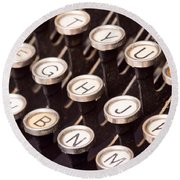 Old Typewriter Keys Round Beach Towel