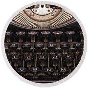 Old Typewriter Round Beach Towel