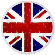 Old United Kingdom Flag Original Acrylic Palette Knife Painting Round Beach Towel