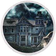Old Victorian House Round Beach Towel by Mo T