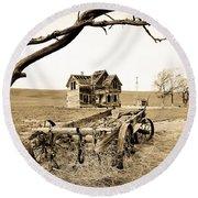 Old Wagon And Homestead II Round Beach Towel by Athena Mckinzie
