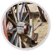Old Wagon Wheels From Montana Round Beach Towel by Jennie Marie Schell