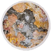 Old Wall Abstract Round Beach Towel