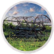 Old Weathered Plow Round Beach Towel