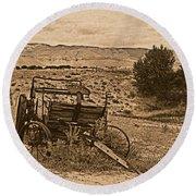 Old West Wagon Round Beach Towel